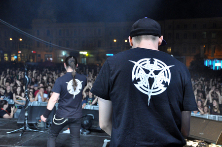 death metal: CLUJ NAPOCA, ROMANIA - AUGUST 2, 2015: Hard rock band Altar from Romania, performs a live concert at the Untold Festival