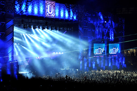 kolozsvar: CLUJ NAPOCA, ROMANIA  JULY 30, 2015: Dj ATB Andre Tanneberger mixing on the stage during a live concert at Untold Festival in the European Youth Capital city of Cluj Napoca Editorial
