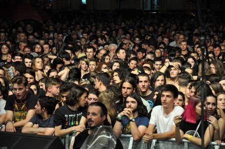 kolozsvar: CLUJ NAPOCA, ROMANIA  AUGUST 2, 2015: Headbanging crowd during a rock concert at the Untold Festival Editorial