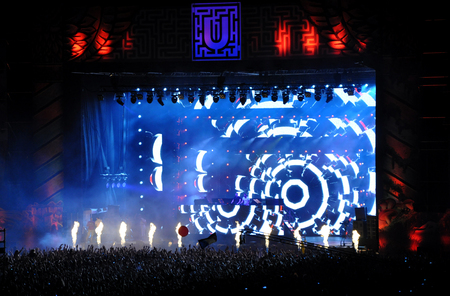 CLUJ NAPOCA, ROMANIA  JULY 30, 2015: Dimitri Vegas and Like Mike performs a live concert at the Untold Festival in the European Youth Capital city of Cluj Napoca Editorial