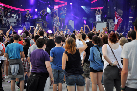clubbers: CLUJ NAPOCA, ROMANIA  AUGUST 2, 2015: Crowd of partying people enjoy a Irish Maffia live concert at the Untold Festival