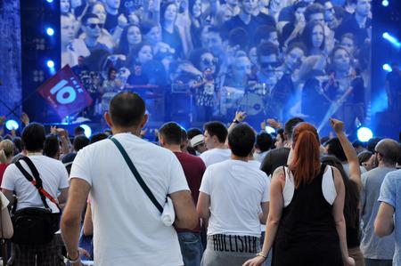 maffia: CLUJ NAPOCA, ROMANIA  AUGUST 2, 2015: Crowd of cheerful people having fun during an Irish Maffia concert at Untold Festival