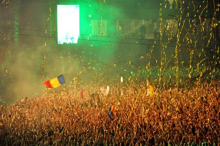 napoca: CLUJ NAPOCA, ROMANIA  AUGUST 2, 2015: Dj David Guetta performs a live show at the Untold Festival in