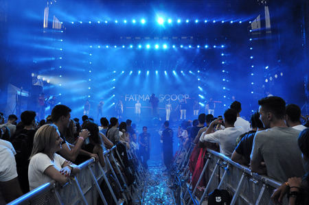 napoca: CLUJ NAPOCA, ROMANIA  AUGUST 2, 2015: Rapper Fatman Scoop singing live at the Untold Festival