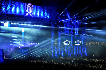 clubbers: CLUJ NAPOCA, ROMANIA  JULY 30, 2015: Dj ATB Andre Tanneberger performs a live concert at the Untold Festival in the European Youth Capital city of Cluj Napoca