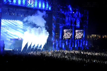 napoca: CLUJ NAPOCA, ROMANIA  JULY 30, 2015: Dj ATB Andre Tanneberger performs a live concert at the Untold Festival in the European Youth Capital city of Cluj Napoca