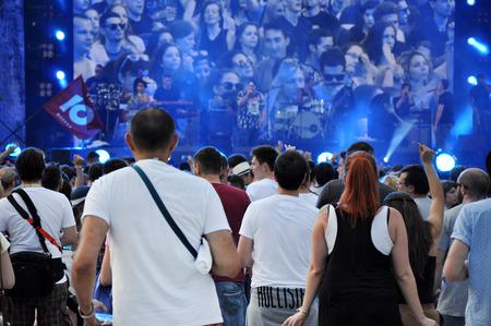 maffia: CLUJ NAPOCA, ROMANIA  AUGUST 2, 2015: Crowd of partying people enjoy a Irish Maffia live concert at the Untold Festival