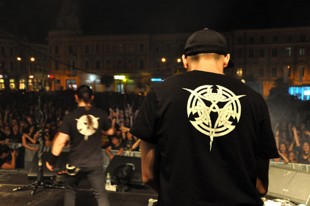 CLUJ NAPOCA, ROMANIA - AUGUST 2, 2015: Hard rock band Altar from Romania, performs a live concert at the Untold Festival