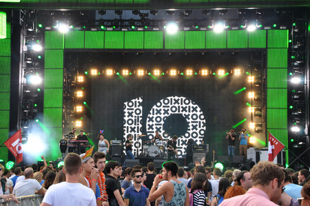 CLUJ NAPOCA, ROMANIA  AUGUST 2, 2015: Irish Maffia band from Hungary performs a live concert on the stage at the Untold Festival