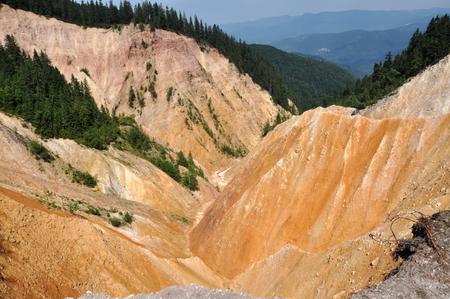 badland: Deep ravine, erosion landscape