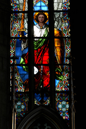 CLUJ NAPOCA - DECEMBER 27: Biblical scene on a stained glass window inside the Gothic Roman Catholic Church of Saint Michael, built in 1390. On December 27, 2003 in Cluj, Romania