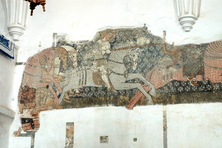 discovered: DARJIU, ROMANIA - MAY 12, 2008: The 13th century murals of the church of Szekelyderzs, discovered during a restoration, present the legend of the Hungarian King Saint Ladislaus
