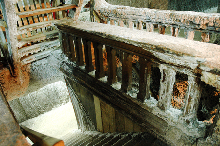 salt mine: Wooden steps in an underground salt mine. Turda, Romania