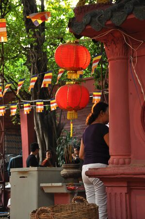 jade buddha temple: HO CHI MINH, VIETNAM - FEBRUARY 18, 2013: The Jade Emperor Pagoda, also known as Tortoise Pagoda was built by the Chinese Tao community in 1909 Editorial