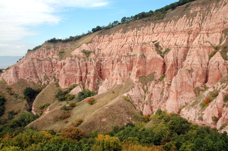 badland: Geological reserve. The ravine of Rapa Rosie, Romania Stock Photo