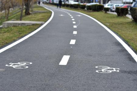 road bike: Bicycle road sign, bike lane Stock Photo