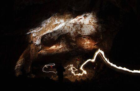 dark cave: Underground cave chamber Stock Photo