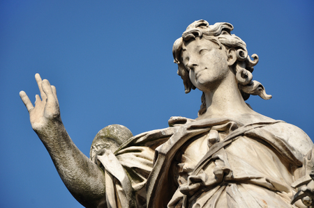 tevere: Angel with the Nails. Statue on the Ponte Sant Angelo bridge, Rome Stock Photo