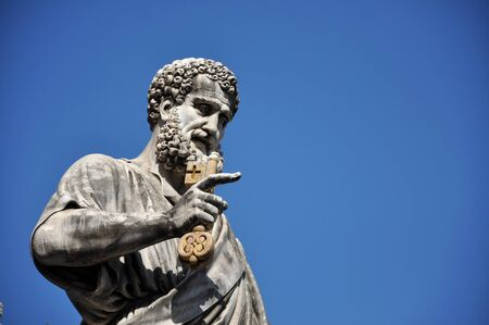 saint peter: Statue of Saint Peter holding a key. Vatican city Stock Photo