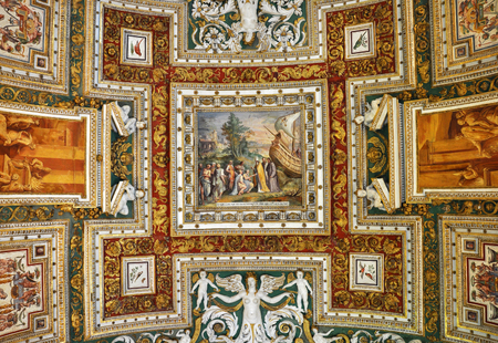 italian fresco: VATICAN, ITALY - MARCH 14, 2016: The carved, ornated and painted ceiling of the Gallery of Maps in the Vatican Museum is visited daily by crowds of people