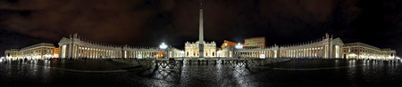 saint peter: Panorama of Saint Peter square at night. Piazza San Pietro, Vatican city
