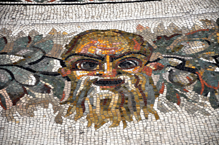 3rd century: VATICAN, ITALY - MARCH 14, 2016: The mosaic floor in the Pius-Clementine Museum of Vatican dated back in the 3rd century is visited daily by crowd of tourists