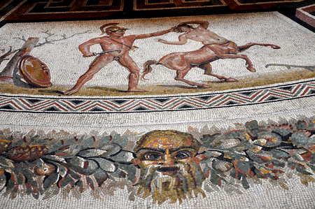 mosaic floor: VATICAN, ITALY - MARCH 14, 2016: The mosaic floor in the Pius-Clementine Museum of Vatican dated back in the 3rd century is visited daily by crowd of tourists