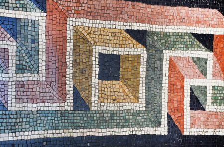 pius: VATICAN, ITALY - MARCH 14, 2016: The mosaic floor in the Pius-Clementine Museum of Vatican dated back in the 3rd century is visited daily by crowd of tourists
