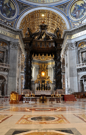 italian fresco: VATICAN, ITALY - MARCH 16, 2016: The famous wooden baldachin, altar of Saint Peter basilica was made by Bernini and is visited daily by thousands of tourists
