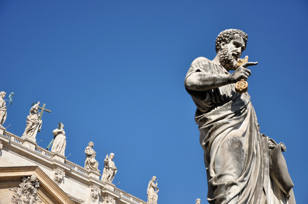 st  peter's basilica pope: Statue of Saint Peter holding a key. Vatican city Stock Photo