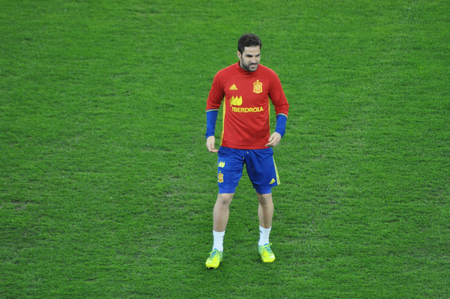 CLUJ-NAPOCA, ROMANIA - MARCH 26, 2016: Cesc Fabregas, player of the National Football Team of Spain playing during the training session before the Romania-Spain match