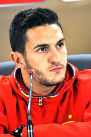 midfielder: CLUJ-NAPOCA, ROMANIA - MARCH 26, 2016: Spanish football player Jorge Resurreción Merodio speaks during a press conference before the Romania-Spain friendly match