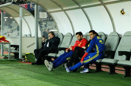 CLUJ-NAPOCA, ROMANIA - MARCH 27, 2016: Cesc Fabregas and Pedro Rodriguez, football players of Spain, relaxing before a match against Romania before Euro 2016