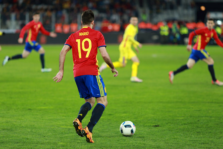 gaspar: CLUJ-NAPOCA, ROMANIA - MARCH 27, 2016: Mario Gaspar player of the National Football Team of Spain playing during a match against Romania before Euro 2016 Editorial