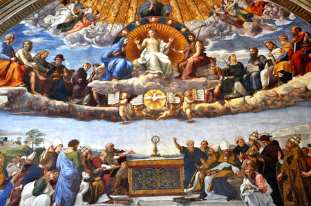 italian fresco: VATICAN CITY, ITALY - MARCH 14, 2016: The paintings on the walls and the ceiling of the Vatican were painted in the Renaissance and are visited in the modern times by crowds of people