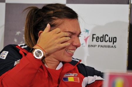 paribas: CLUJ-NAPOCA, ROMANIA - APRIL 13, 2016: Romanian tennis player Simona Halep  during the press conference before Tennis Fed Cup by BNP Paribas World Cup Play-Offs match Romania vs Germany