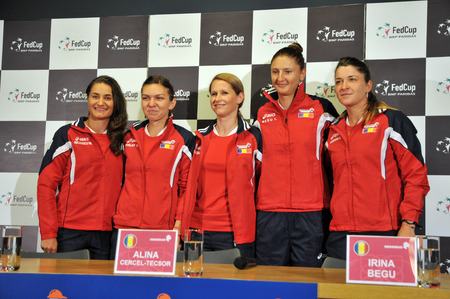 are fed: CLUJ-NAPOCA, ROMANIA - APRIL 13, 2016: The Tennis Women Team of Romania posing during the press conference before Tennis Fed Cup by BNP Paribas World Cup Play-Offs match Romania vs Germany