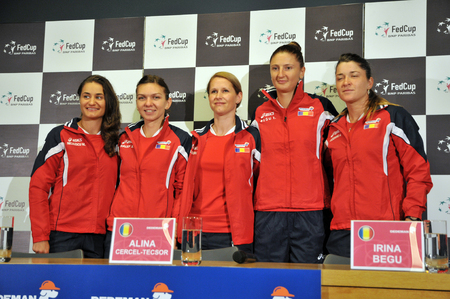 playoffs: CLUJ-NAPOCA, ROMANIA - APRIL 13, 2016: The Tennis Women Team of Romania posing during the press conference before Tennis Fed Cup by BNP Paribas World Cup Play-Offs match Romania vs Germany