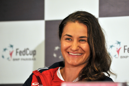 world player: CLUJ-NAPOCA, ROMANIA - APRIL 13, 2016: Romanian tennis player Monica Niculescu answering questions during the press conference before Tennis Fed Cup by BNP Paribas World Cup Play-Offs match Romania vs Germany