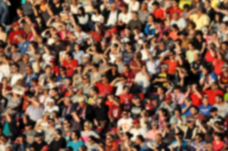 spectators: Crowd in a stadium. Blurred heads and faces of spectators