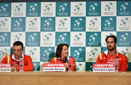martinez: CLUJ-NAPOCA, ROMANIA - JULY 12, 2016: Spanish tennis players answering questions during the press conference before Davis Cup by BNP Paribas match Romania vs Spain Editorial