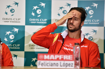 martinez: CLUJ-NAPOCA, ROMANIA - JULY 12, 2016: Spanish tennis player Feliciano Lopez answering questions during the press conference before Davis Cup by BNP Paribas match Romania vs Spain Editorial