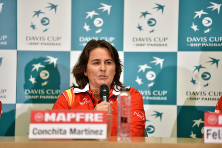 martinez: CLUJ-NAPOCA, ROMANIA - JULY 12, 2016: Spanish tennis team captain, Conchita Martinez answering questions during the press conference before Davis Cup by BNP Paribas match Romania vs Spain