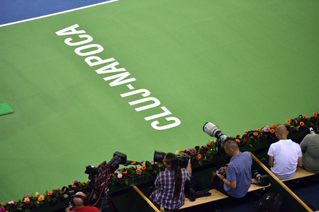 telezoom: CLUJ NAPOCA, ROMANIA - JULY 16, 2016: Photojournalists and reporters shooting during a Davis Cup by BNP Paribas match Romania vs Spain Editorial