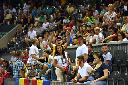 paribas: CLUJ NAPOCA, ROMANIA - JULY 16, 2016: Crowd of cheering people and fans enjoying a Davis Cup match by BNP Paribas Romania vs Spain Editorial