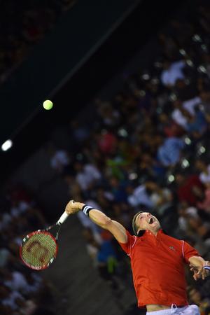 grand hard: CLUJ NAPOCA, ROMANIA - JULY 16, 2016: Spanish tennis player Roberto Bautista playing during a match Davis Cup by BNP Paribas match Romania vs Spain