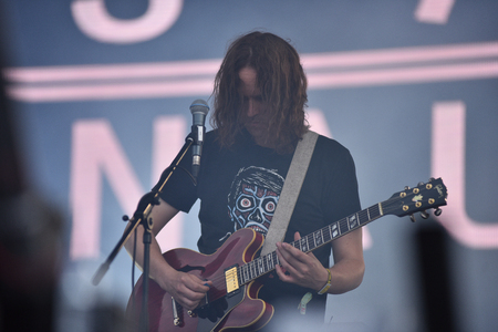 lead guitar: BONTIDA, ROMANIA - JULY 17, 2016: Irish post-rock band God is an Astronaut performing live on the stage at Electric Castle festival