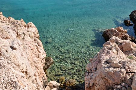 dalmatia: Adriatic rocky coast in Dalmatia. Mediterranean sea and rocky beach
