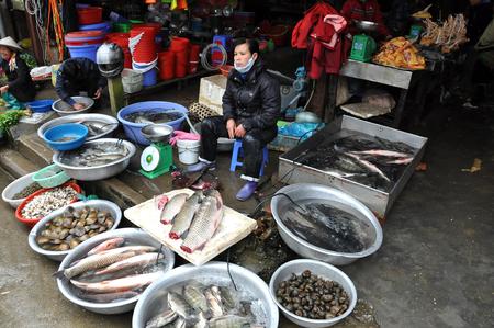 sapa: SAPA, VIETNAM - FEBRUARY 22, 2013: Asian woman selling fresh fish and seafood in the rural market of Sapa, Northern Vietnam Editorial