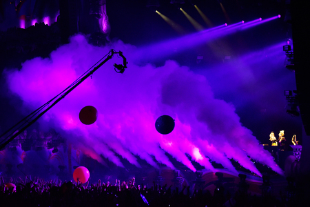 CLUJ NAPOCA, ROMANIA - AUGUST 4, 2016: CO2 smoke cannons emitting smoke on the stage onto crowd at a Dj Nervo concert during Untold Festival
